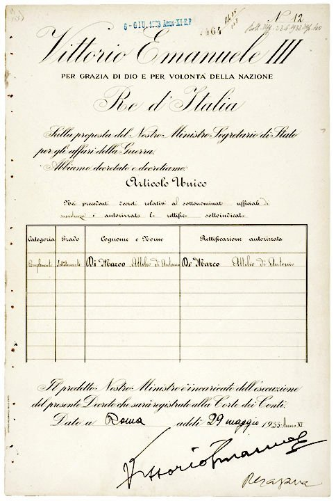 2007: VICTOR EMMANUEL III Signed Document, Rome 1933