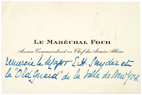 2008: FERDINAND FOCH, Autograph Note (unsigned)