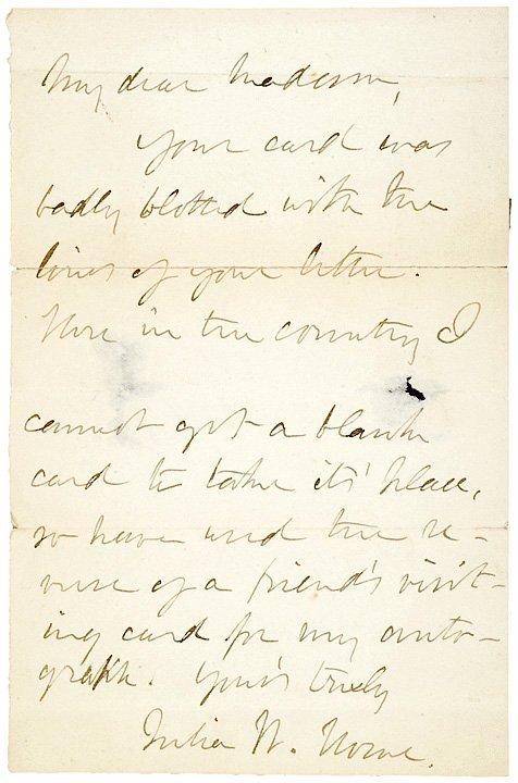 2009: JULIA WARD HOWE Signed Letter, 1889