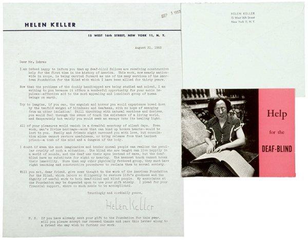 2010: HELEN KELLER 1953 Typed Letter Signed