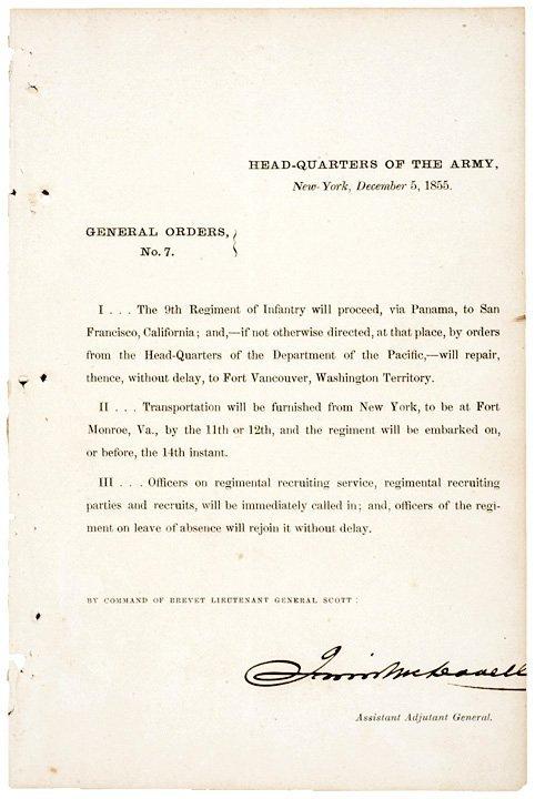 2012: IRWIN MCDOWELL 1855 Document Signed
