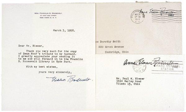 2014: ELEANOR ROOSEVELT 1958 Typed Letter Signed