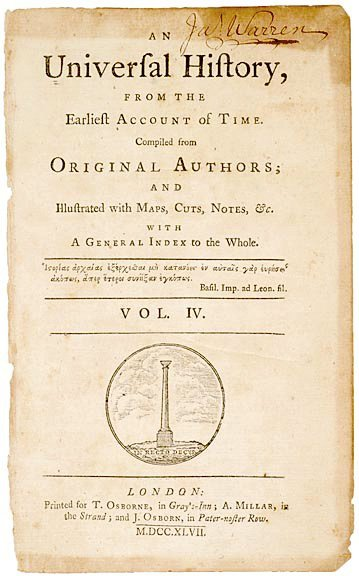 2021: JAMES WARREN, Title Page Signed, c. 1747