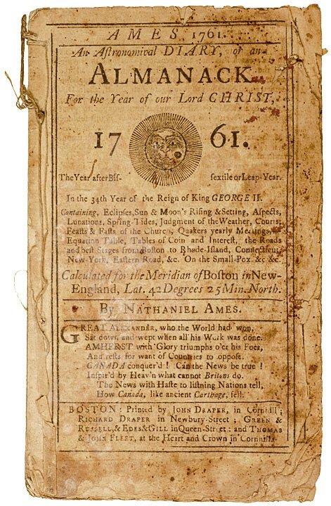 2023: Ames Colonial Boston Area ALMANACK for 1761