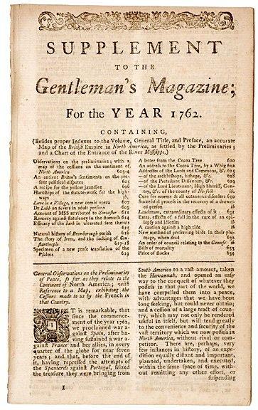 2024: 1762, Supplement to THE GENTLEMANS MAGAZINE