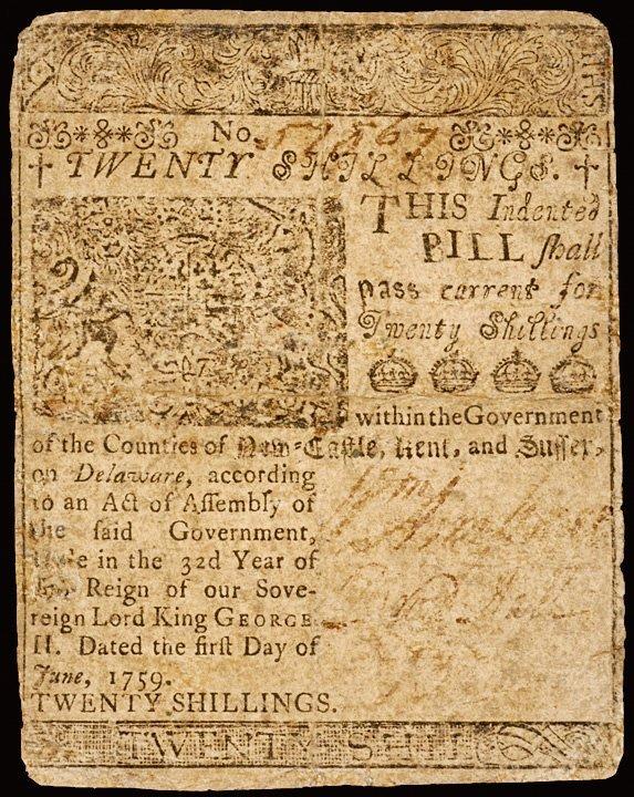 2278: Colonial Currency, DE, June 1, 1759, 20 shillings