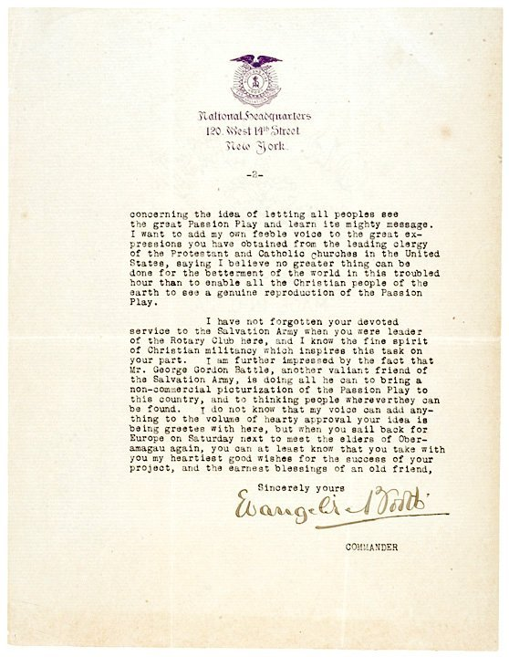 3002: EVANGELINE BOOTH Salvation Army Signed Letter