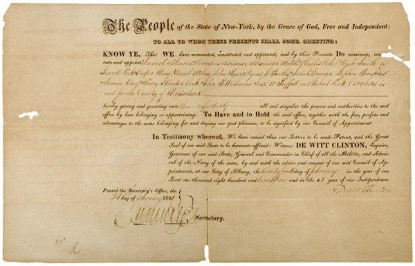 3004: NY Governor DEWITT CLINTON Signed Document