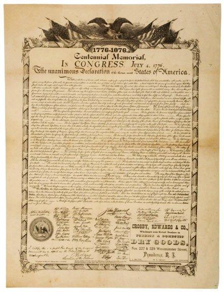 3005: c. 1876, Broadside: Declaration of Independence