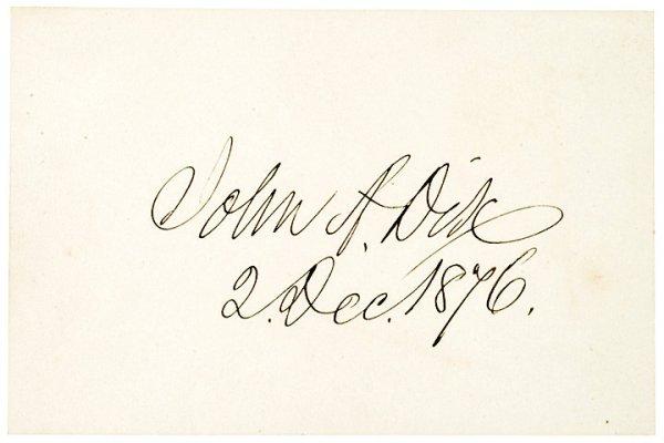 3006: JOHN A. DIX, 1876, Card Signed