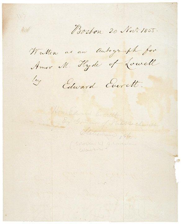 3007: EDWARD EVERETT 1855 Autograph Note Signed