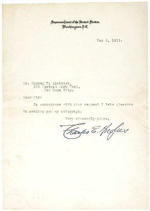 3009: Chief Justice CHARLES B. HUGHES Letter Signed