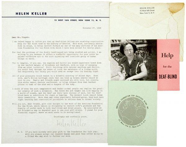 3010: HELEN KELLER 1953 Typed Letter Signed