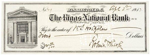 3011: ROBERT TODD LINCOLN Signed Check, 1917