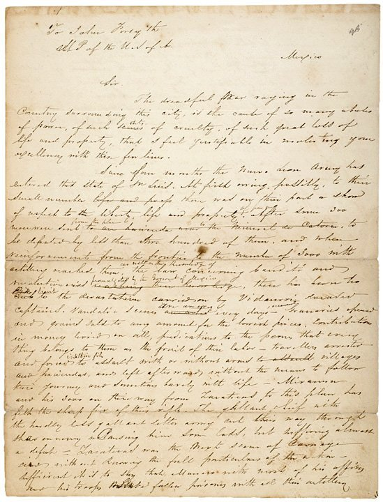 3012: MEXICAN CIVIL WAR Letter, c. 1858