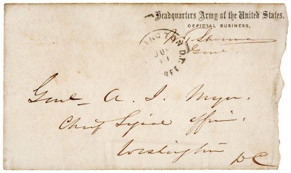 3016: WILLIAM T SHERMAN Postal Cover Free Franked