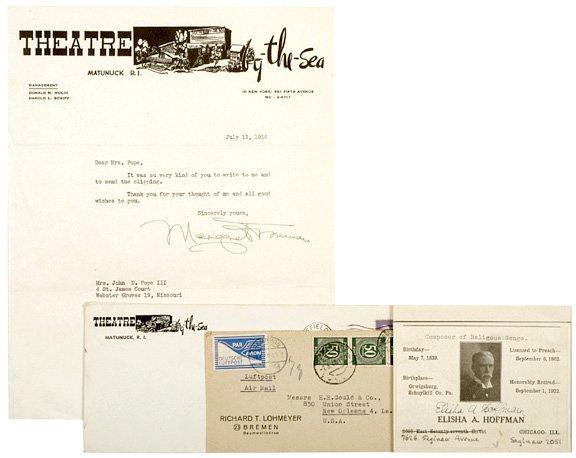 3019: MARGARET TRUMAN (daughter) Signed Letter, 1954