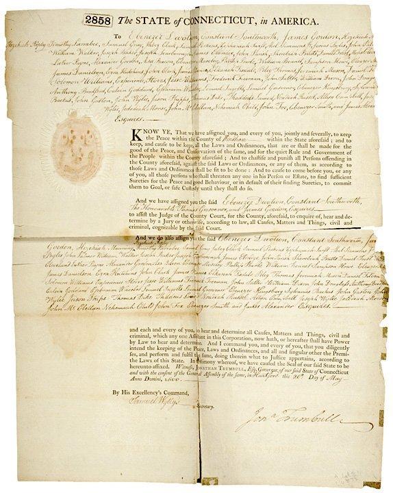 3020: JONATHAN TRUMBULL, JR., Signed Document