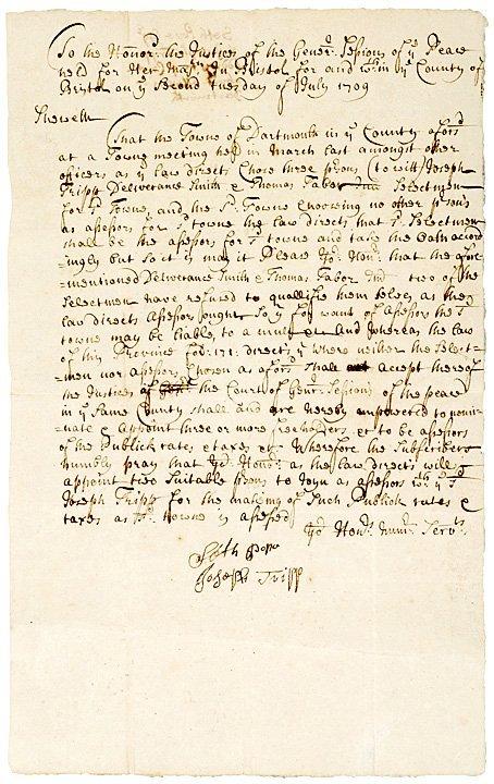 3023: Manuscript Court Document, 1709 Dartmouth