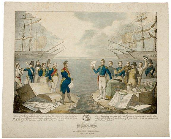 3148: 1836 Handcolored Print Andrew Jackson v. FRENCH