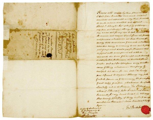 4002: JOHN BRADSTREET, Signed Document, 1764