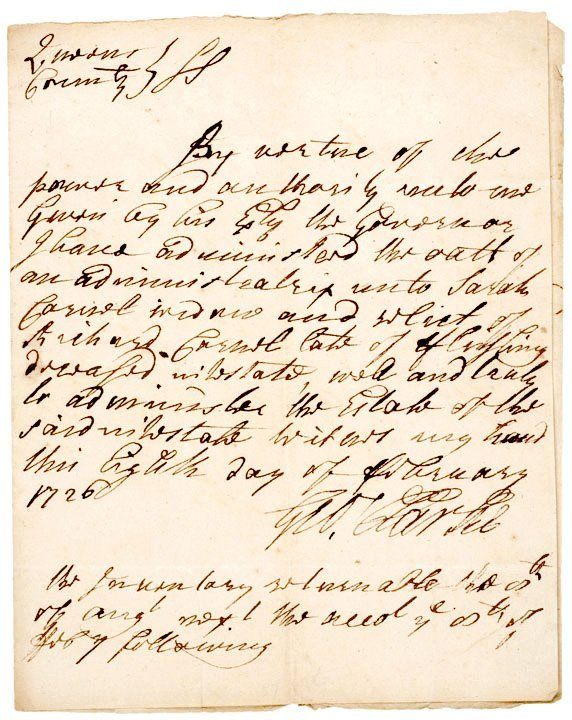 4003: GEORGE CLARKE, Signed Document 1726