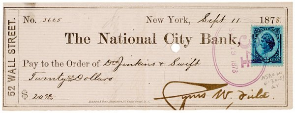 4007: CYRUS W. FIELD, 1878 Signed Check