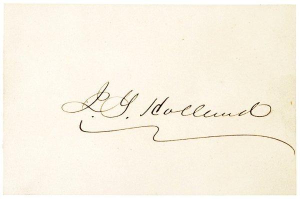 4008: JOSIAH GILBERT HOLLAND, Autograph and Envelope