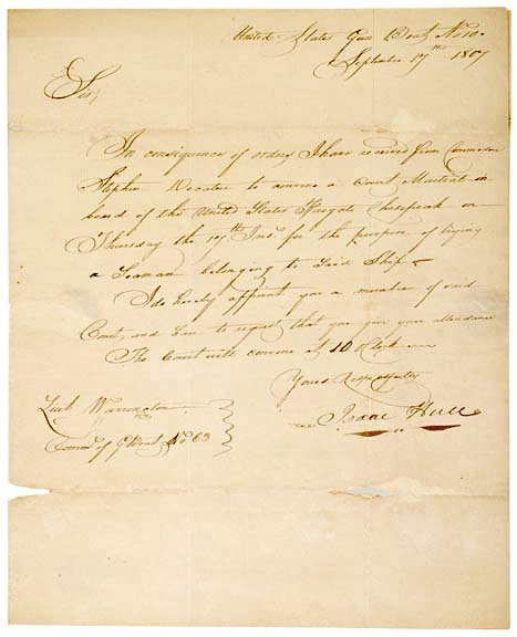 4009: ISAAC HULL, Letter Signed, 1807