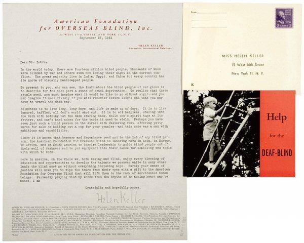 4010: HELEN KELLER 1951 Typed Letter Signed