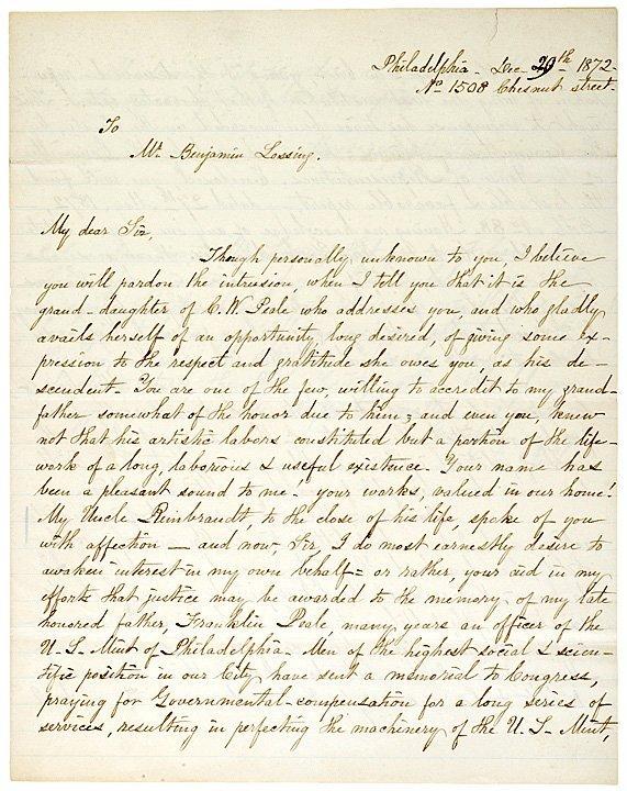 4013: ANNA E. PEALE, Autograph Letter Signed, 1872
