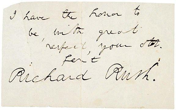 4015: RICHARD RUSH Autograph Note Signed, 1825