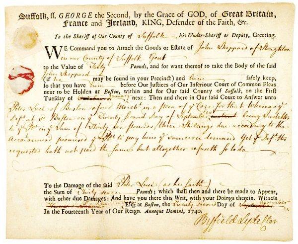 4017: WILLIAM SHIRLEY, Signed Document, 1740