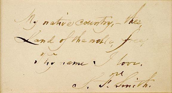 4018: SAMUEL FRANCIS SMITH Autograph Manuscript Signed