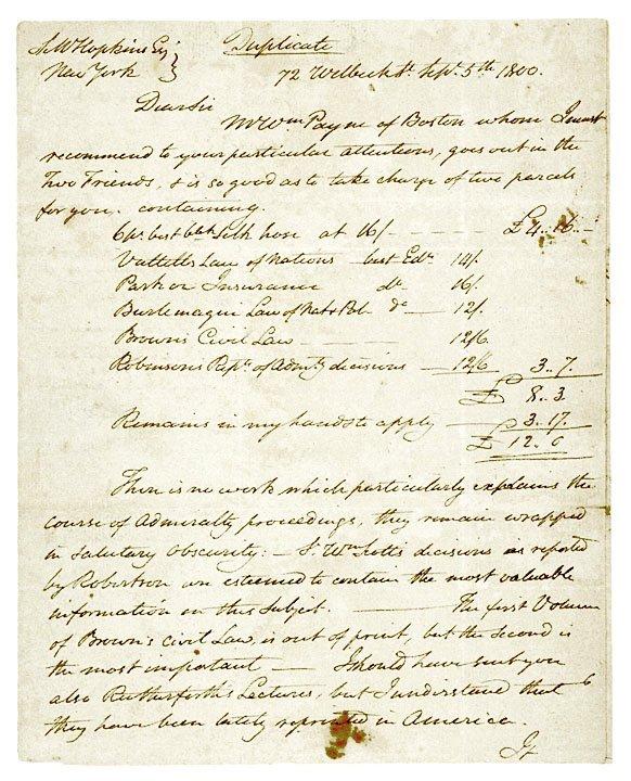 4020: Painter, JOHN TRUMBULL Autograph Letter 1800