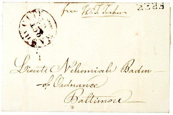 4021: THOMAS TUCKER Signed Free Frank, 1817