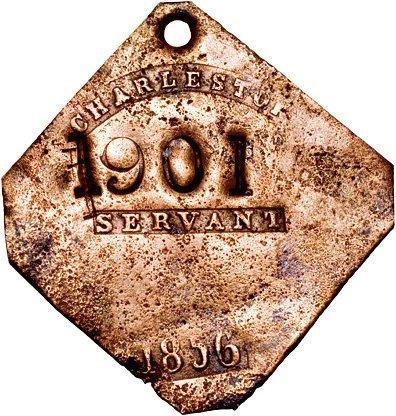 4132: Original 1838 Dated Charleston SERVANT Slave Tag
