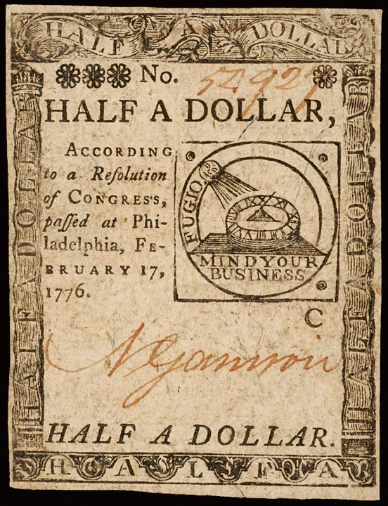 4283: Colonial Currency, Feb. 17, 1776, 3 FUGIO Notes