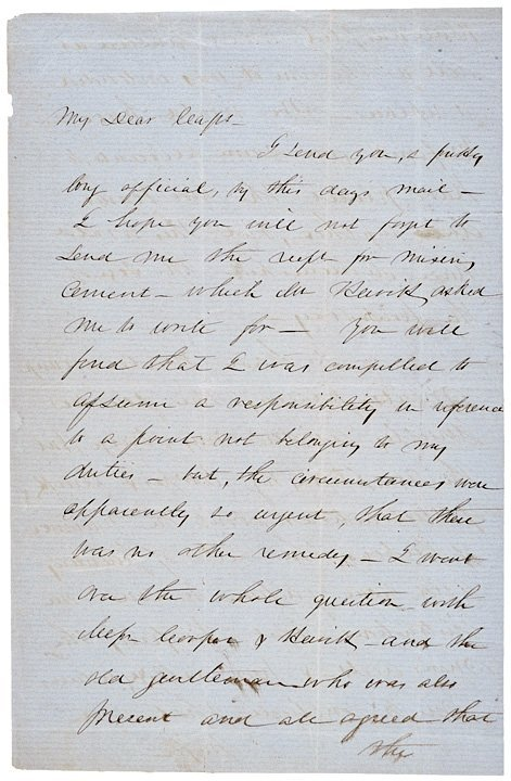 1: ROBERT ANDERSON, Signed Letter (1856)
