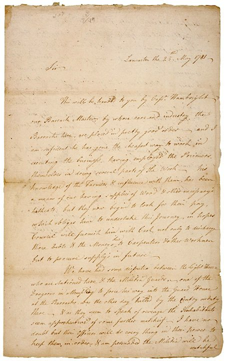 7: WILLIAM A. ATLEE, 1781, Autograph Letter Signed