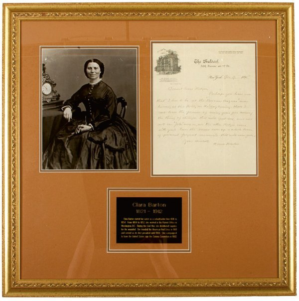 11: CLARA BARTON, 1896 Handwritten and Signed Letter
