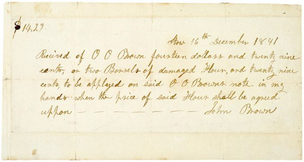 19: Autograph Document Signed, JOHN BROWN, 1841