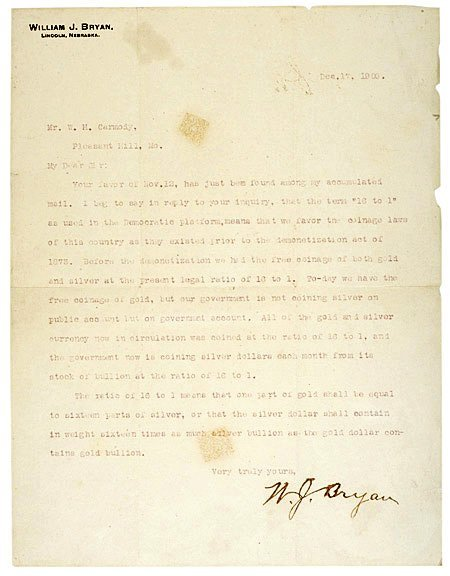 20: 1900 WILLIAM JENNINGS BRYAN Letter Signed