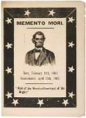 292: LINCOLN, c.1865 MEMENTO MORI Memorial Broadside