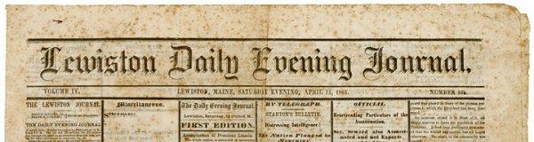 321: 1865 Lewiston, Maine Newspaper-Lincoln Death