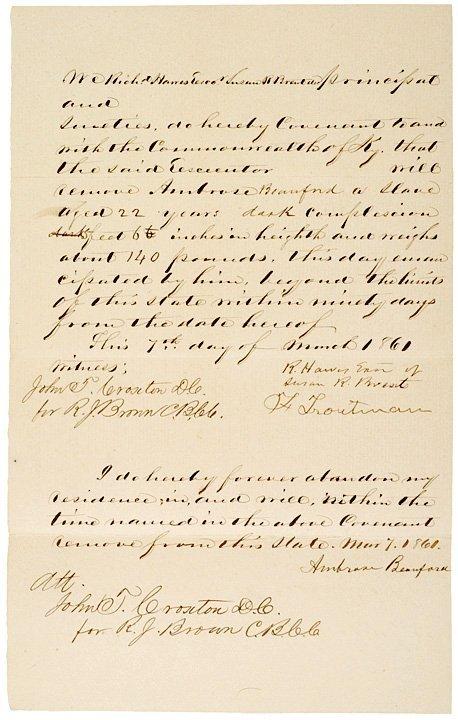 382: 1861, Emancipation Document: Slave Aged 22 Years