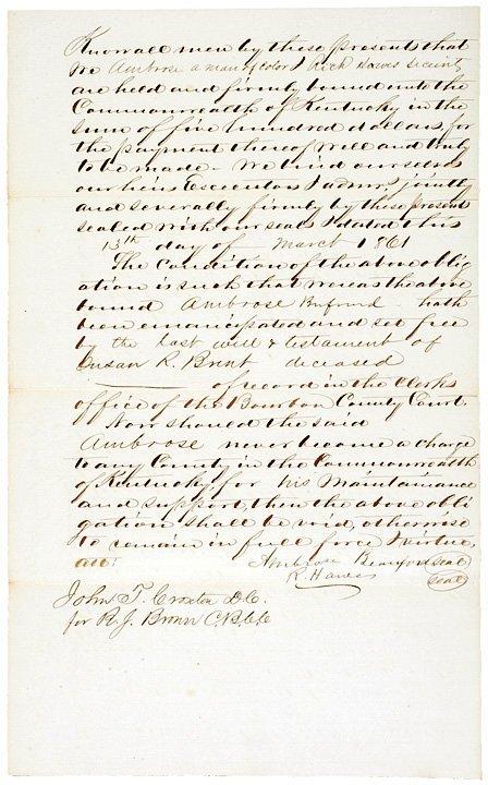 382: 1861, Emancipation Document: Slave Aged 22 Years - 2