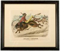 390 1881 Currier  Ives Print The Bicycle Boy