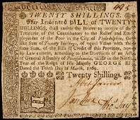 718: Colonial Currency, PA, March 10, 1769, 20s Note