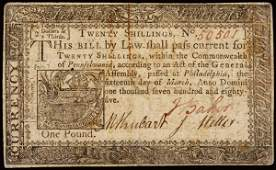 753: Colonial Currency, PA, March 16, 1785, 20s Note